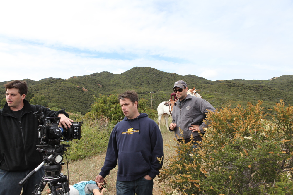 """Advent"" shoot in Malibu Hills, CA. 1st AD Mike Judd looms over me. Spring 2011. Photo by Lance Lee Davis."