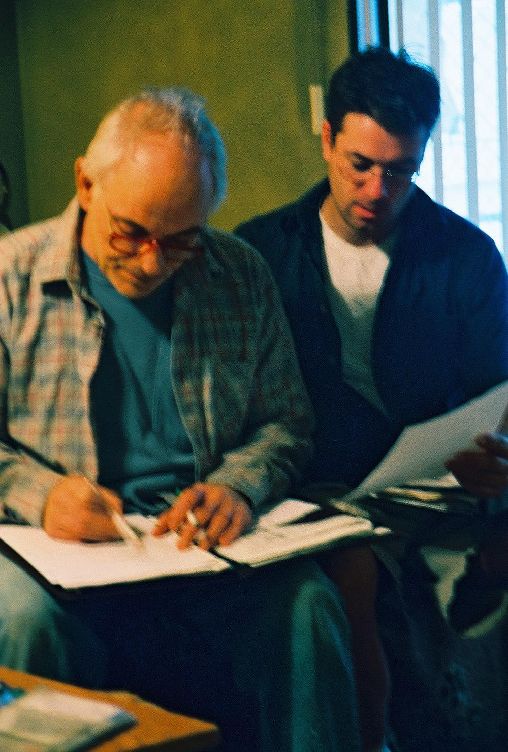 "Rehearsing with actor Michael Cavanaugh a week before shooting ""Chance."" Summer 2003. Photo by Andy Conde."