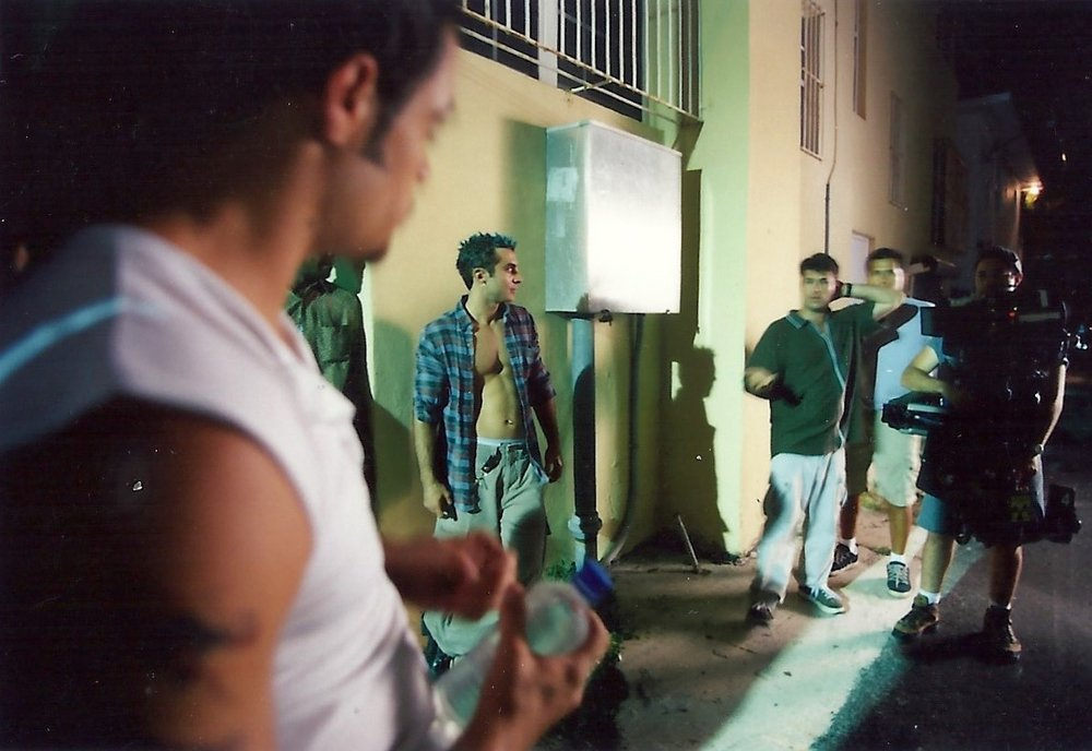 "Night shoot for ""Elevator Music."" South Beach, summer 1999. Photo by Russell Valentine."