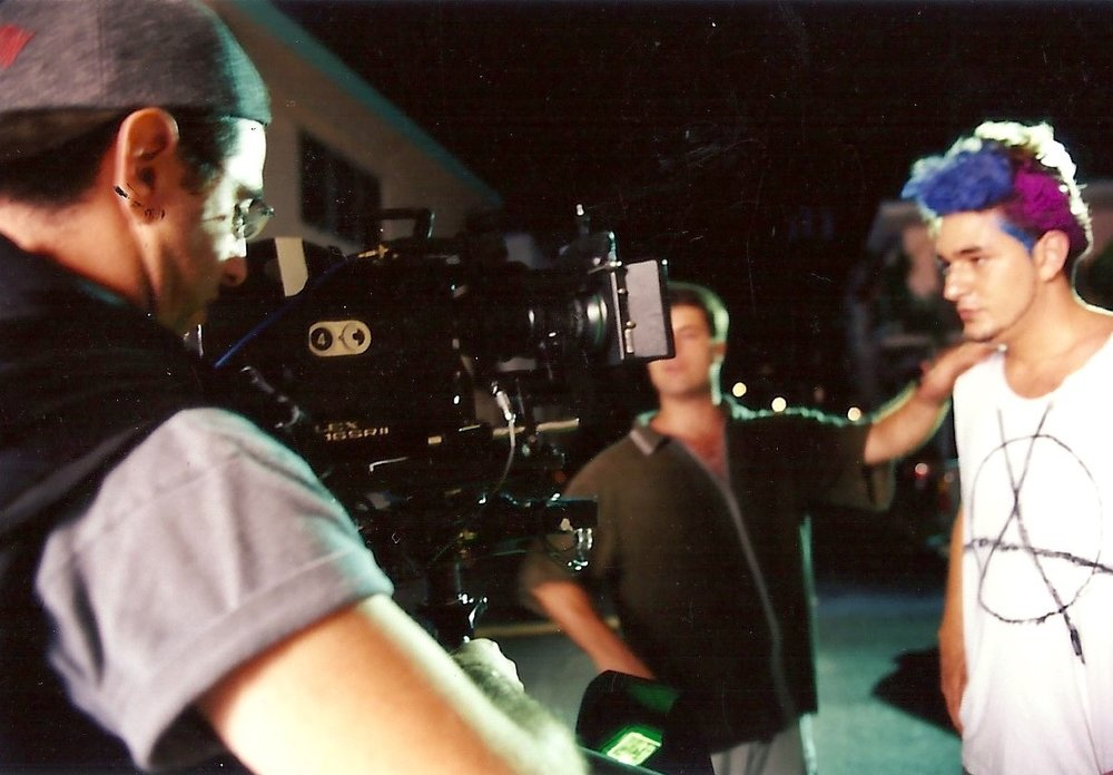 "Directing actor Ian Marioles in ""Elevator Music."" South Beach, Miami. Summer 1999. Photo by Russell Valentine."