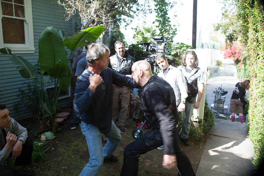 "Rehearsing a fight scene with stunt coordinator Jim Vickers and actor Thomas Craven. ""Advent"" shoot spring 2011. Photo by Scott Everett White."