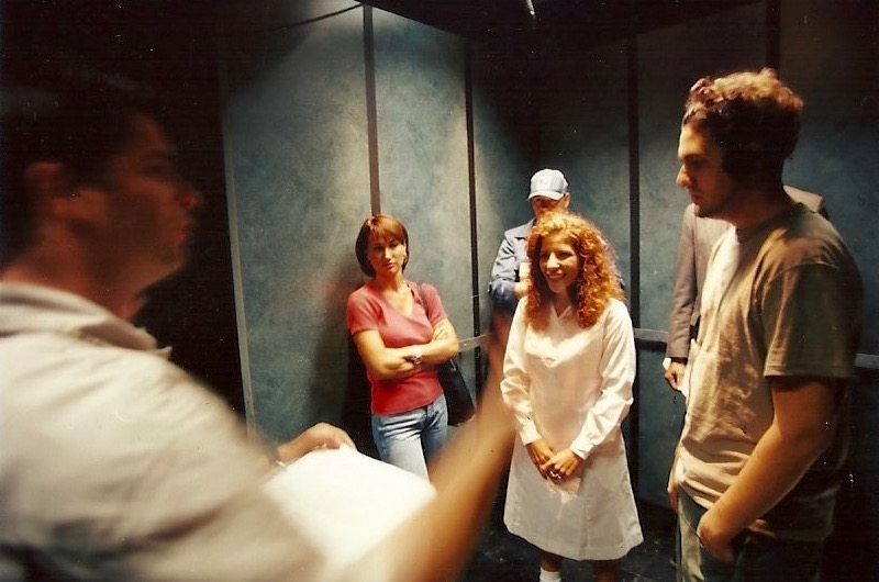 "Rehearsing with the cast in the pre-built elevator set. ""Elevator Music"" summer 1999. Great Southern Studios, N. Miami. Photo by Russell Valentine"