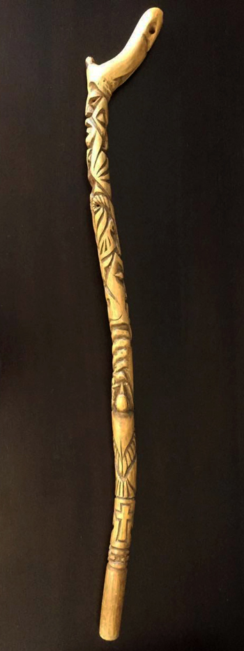 A   tokotoko   is a traditional   carved ceremonial walking stick. I  t is a symbol of authority and status. This walking stick was carved by my father in law Ron de Rooy and depicts the principles that underpin how we do our work.