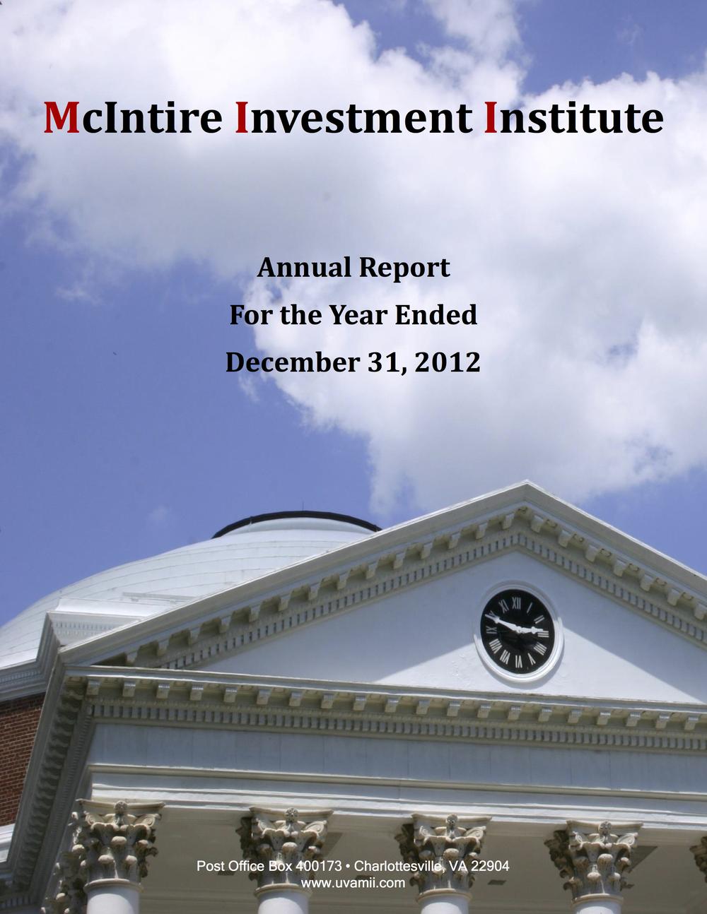 ANNUAL REPORT DECEMBER 2012