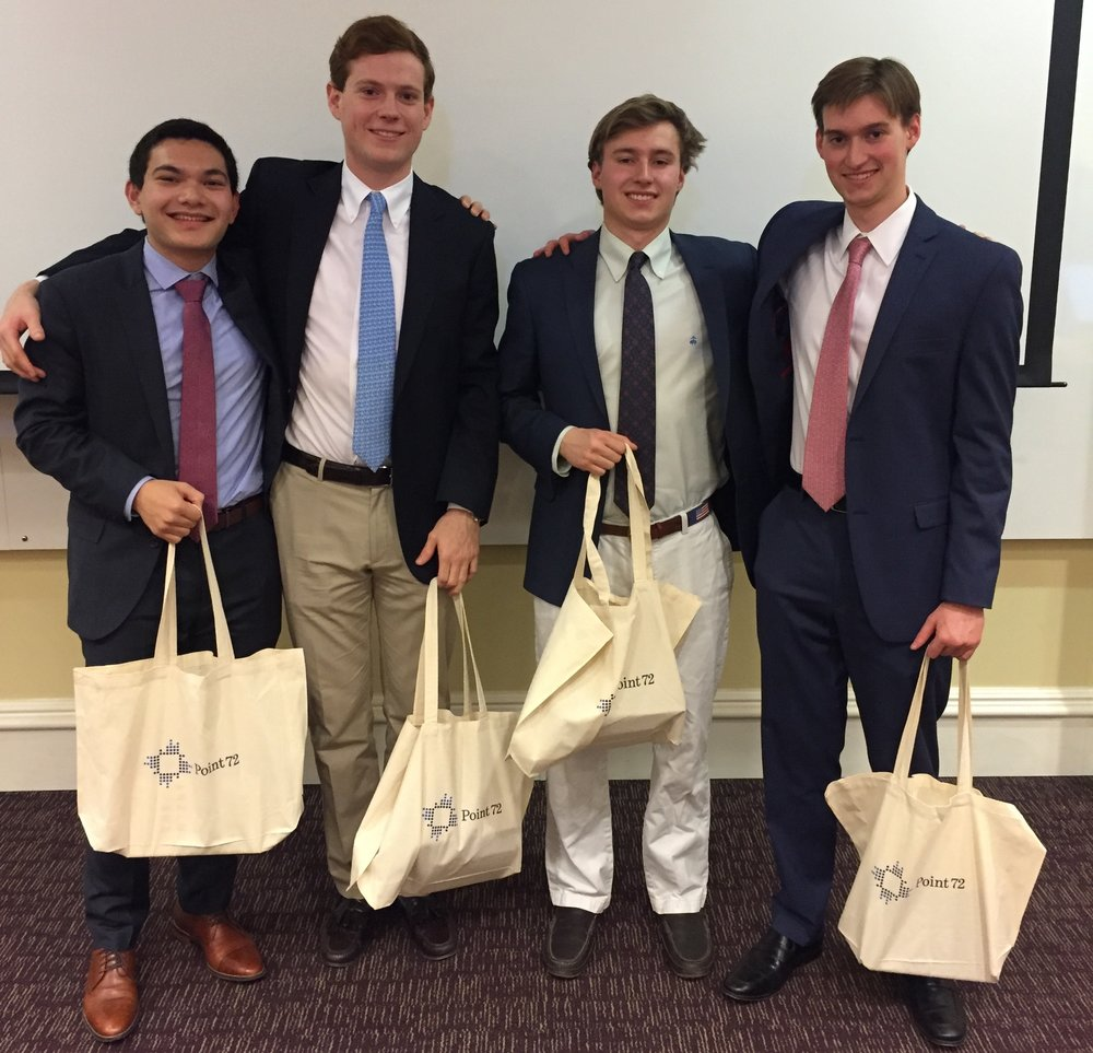 Winning Team:  Pictured from left to right is Chris DeSouza (2nd-year, Associate), Colin Suvak (2nd-year, Associate), James Parkerson (1st-year, Analyst) and Andrew Parkerson (2nd-year, Associate).