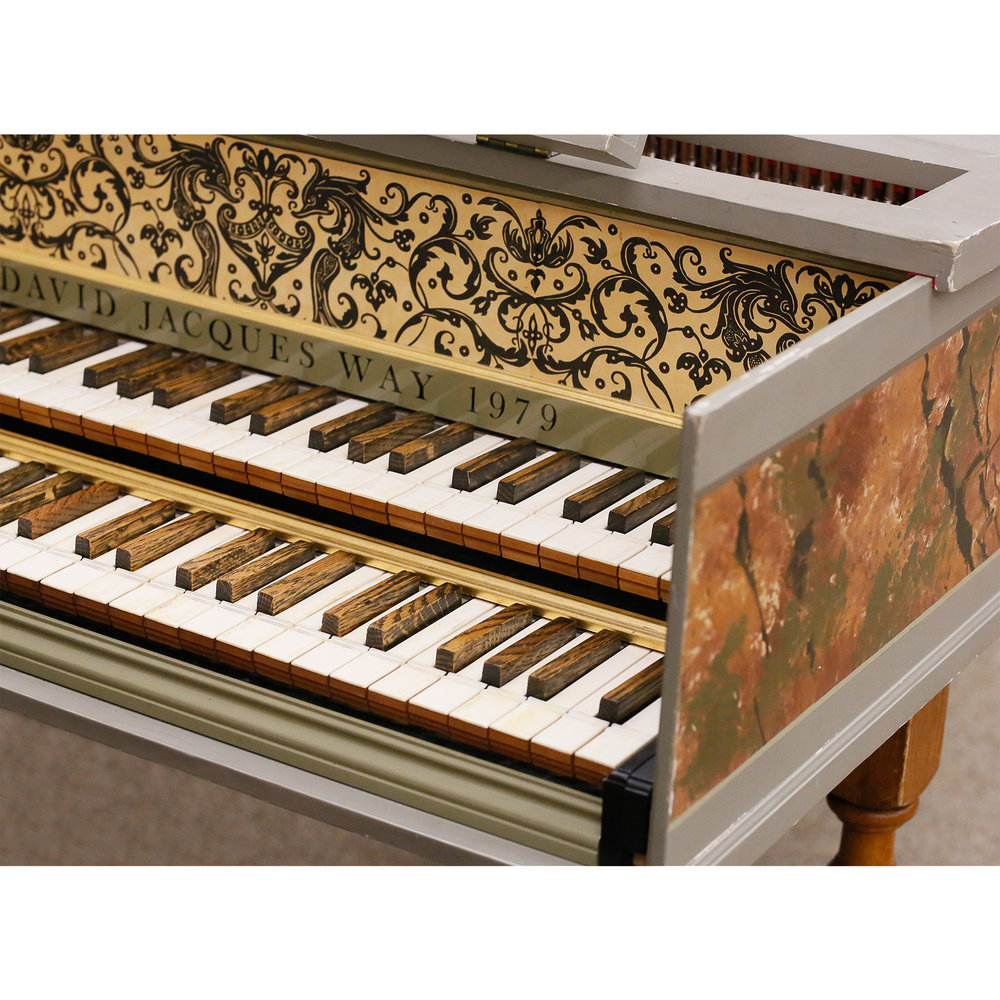 D. JACQUES WAY Flemish double-manual harpsichord • 2x8' 1x4' G-d''' back 8' buff • Made in Boston, 1979
