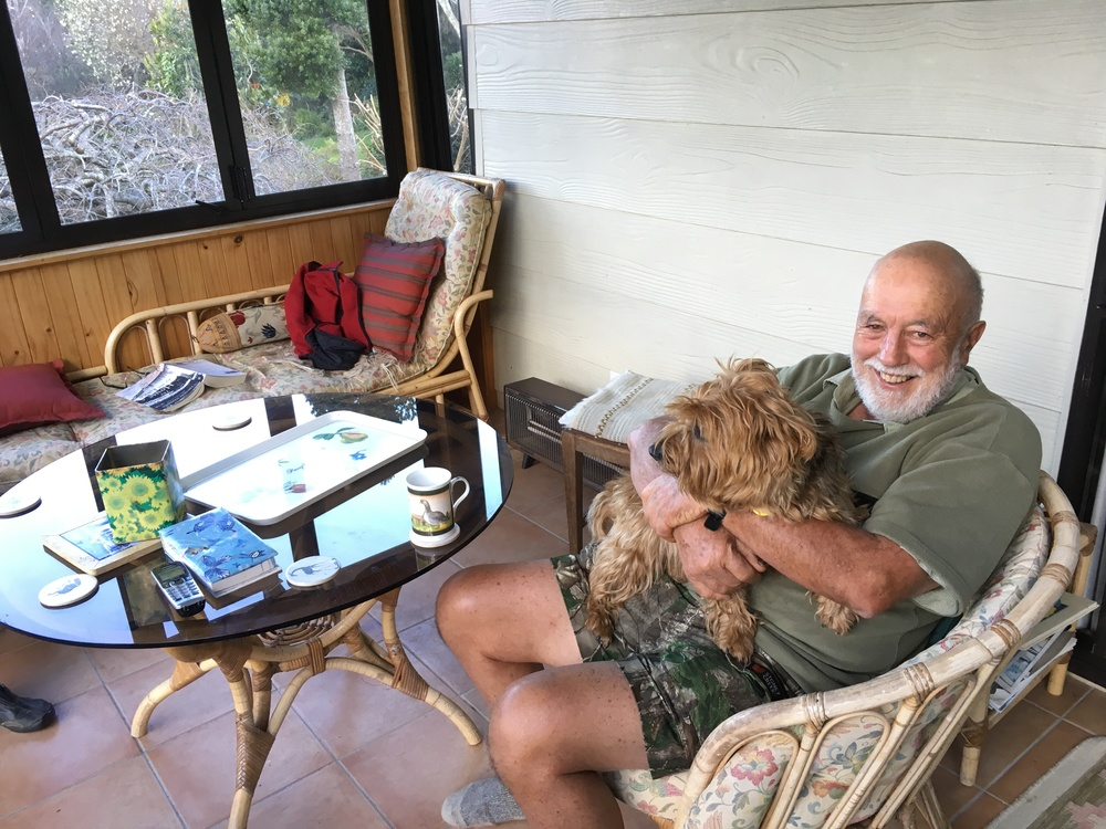 Rod and Monty in the sunroom.