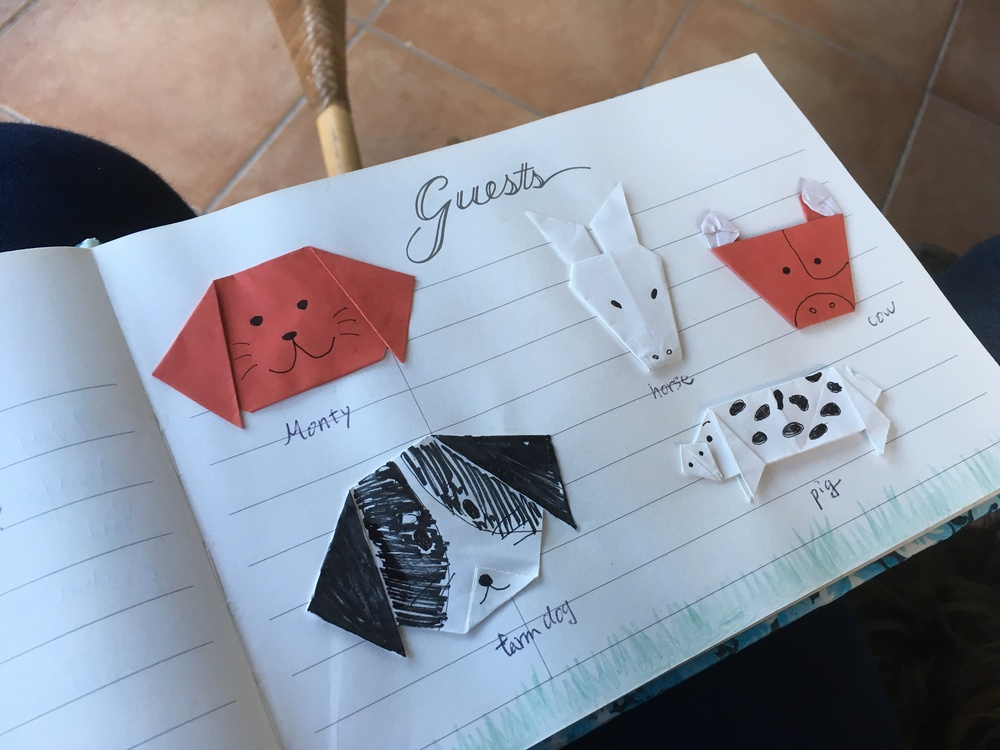 Oragami animals made by Japanese guests