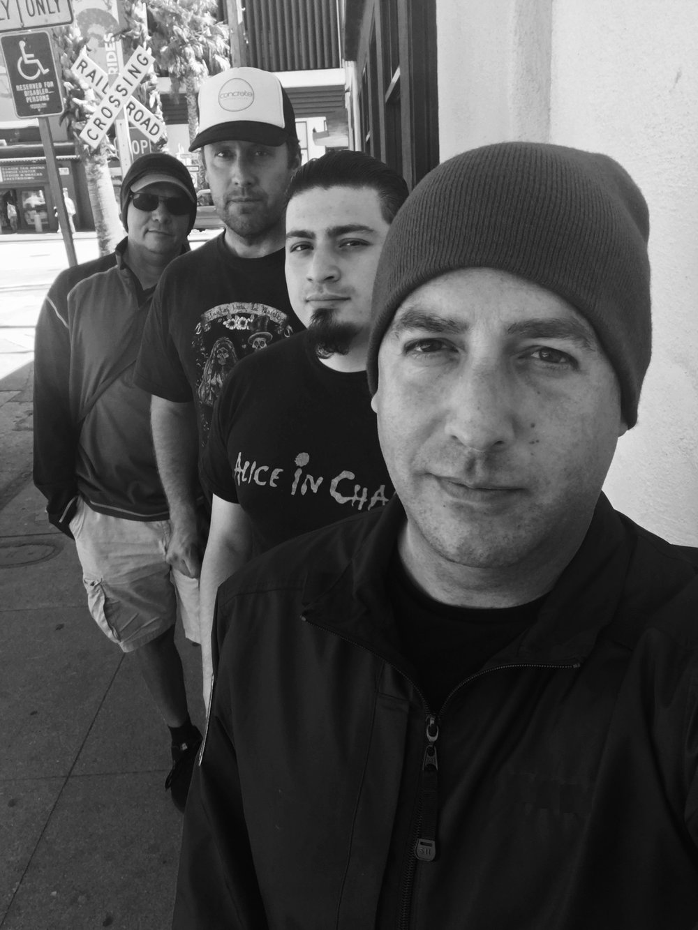 Press Pic. Front to back: Thomas Monroe - Vocals, John Castellon - Guitar, Steve Shell - Bass, Steve Ybarra - Drums