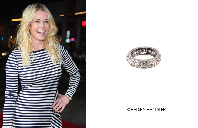 Chelsea Handler wearing Renee Sheppard diamond band