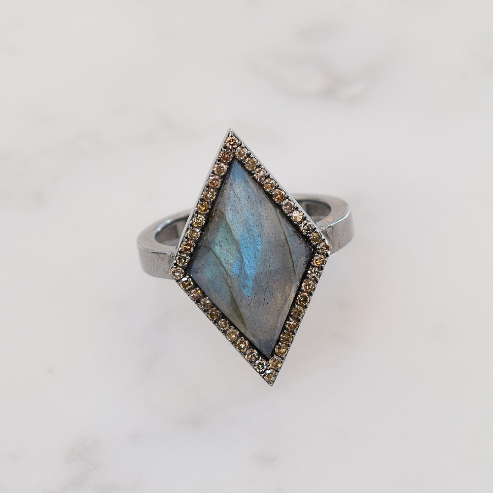 Awaken your magical powers.  Labradorite and white pave diamond ring