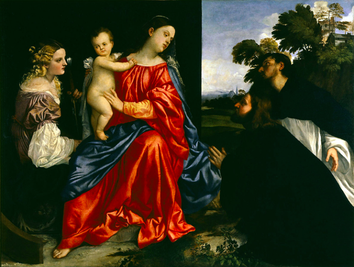 Titian    Madonna and Child with Saints Catherine of Alexandria and Dominic, and a Donor , About 1513   Denver Art Museum