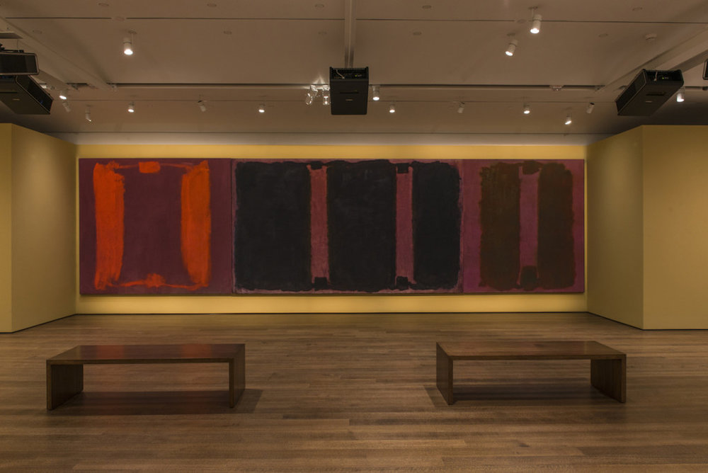 Mark Rothko's  Panel One ,  Panel Two , and  Panel Three (Harvard Mural Triptych) , with restored colors using light from digital projectors. © 2014 Kate Rothko Prizel and Christopher Rothko/Artists Rights Society (ARS), New York. Photo: Peter Vanderwarker, © President and Fellows of Harvard College.