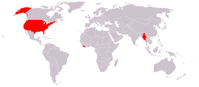 Those other countries are Liberia and Myanmar (Burma). ( via )
