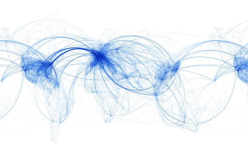 This map includes  only  the arcs made in air travel routes. ( via )
