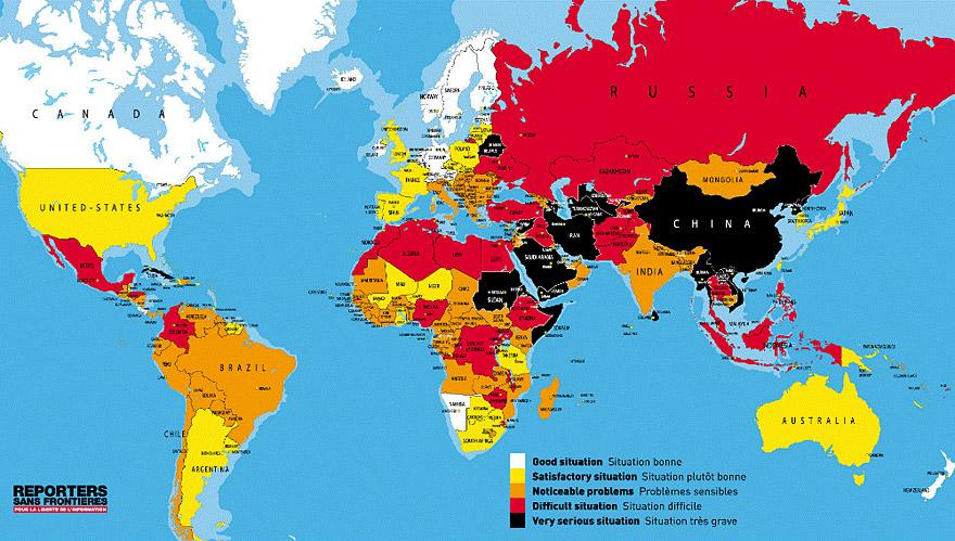 From 2012, this map outlines the relative freedoms of press per country of the world.( via )