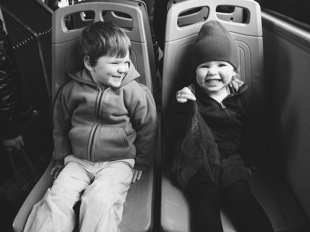 Whether school or public bus, these two always enjoyed the company.