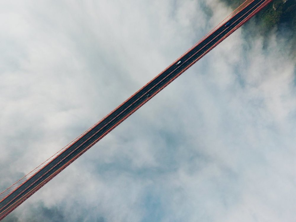 Dead straight ... this image of a road bridge in the US won first prize in the Amateur Beauty category. Photograph: SkyPixel