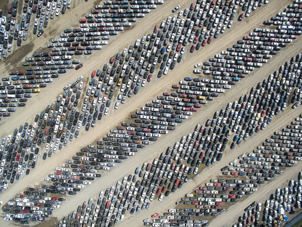 Where did you park the car? Another of our favourites, though not a category winner, is of a huge parking lot.  Photograph: SkyPixel