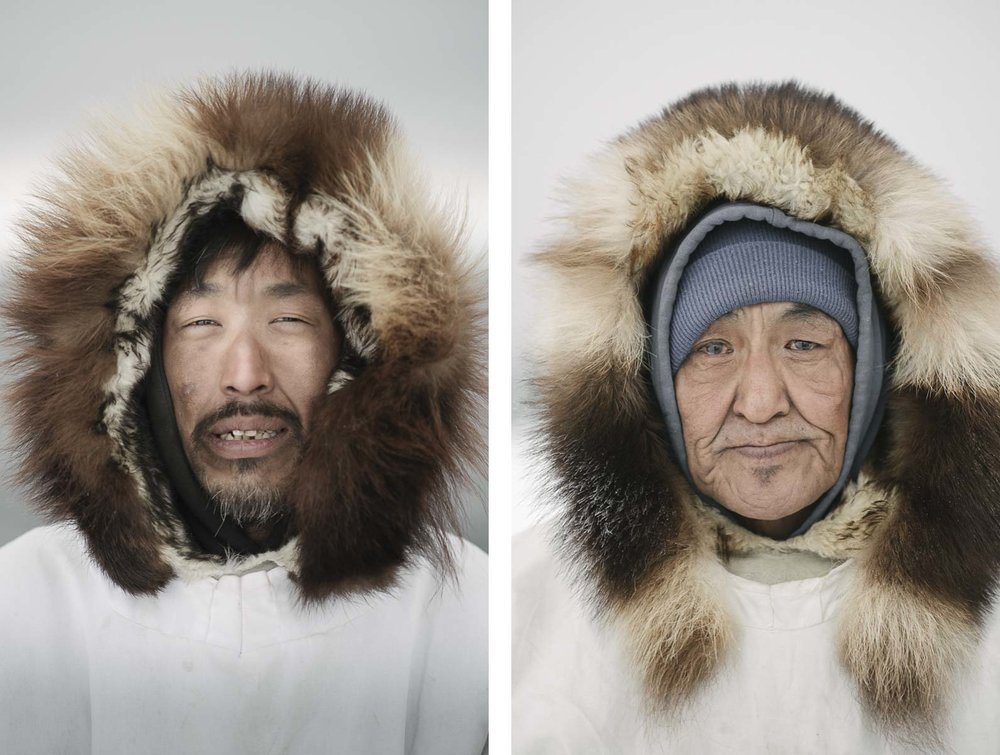 Sigvaun Kaleak and his father Raleigh, wearing traditional ice camouflauge parkas, are lifelong whalers. Although European whaling decimated the global whale population by the 1900, the Iñupiat maintained a sustainable harvest of bowheads ( via ).