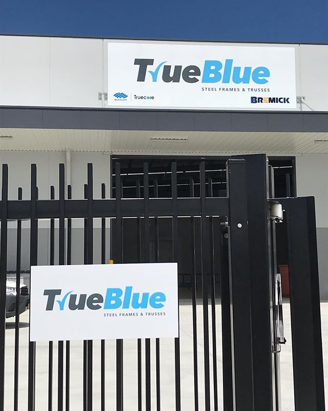 Some new factory signage for @truebluesteelframes to round out the week. #crsigns #trueblue #digitalprinting #signs