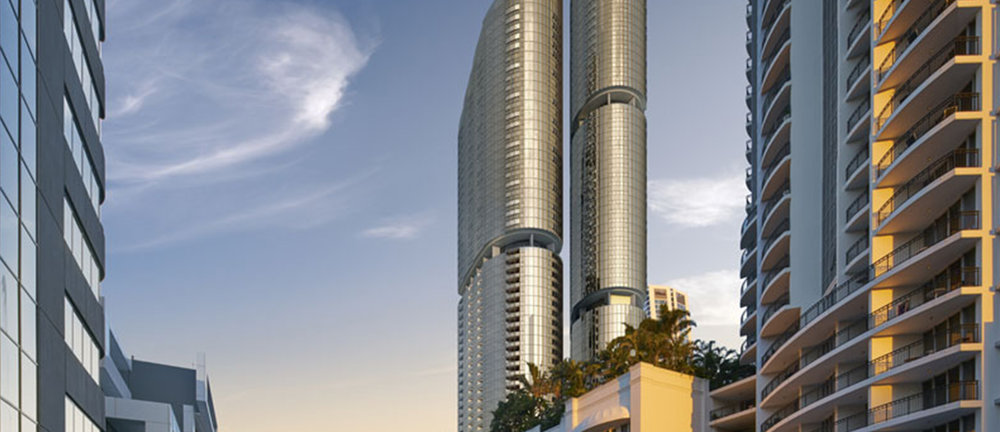 GOLD TWIN TOWER WANDERLUST DEVELOPMENT PROPOSED FOR SURFERS -