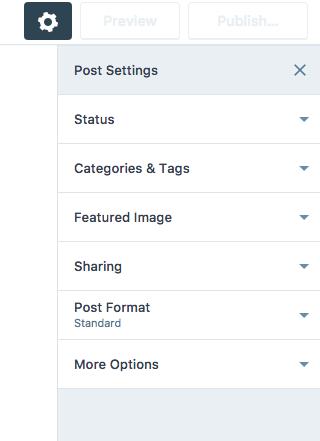 wordpress post settings closeup