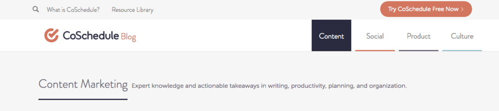 - CoSchedule take yet another approach - they divide their blog into 4