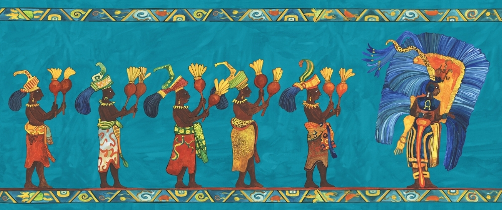 Ella Brigatin kuvitusta Didrichsenin taidemuseon näyttelyyn. Maalaus on tehty Bonampakin (Chiapas, Meksiko) seinämaalausta mukaillen.