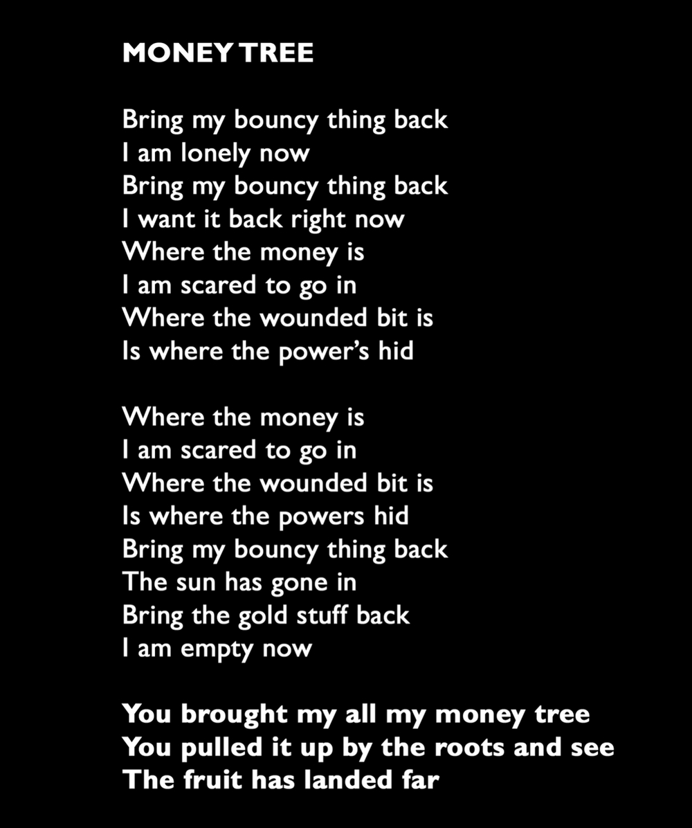 Lyrics for The Electra Woods track Money Tree, from single INTO LIGHT. DRESS label release.