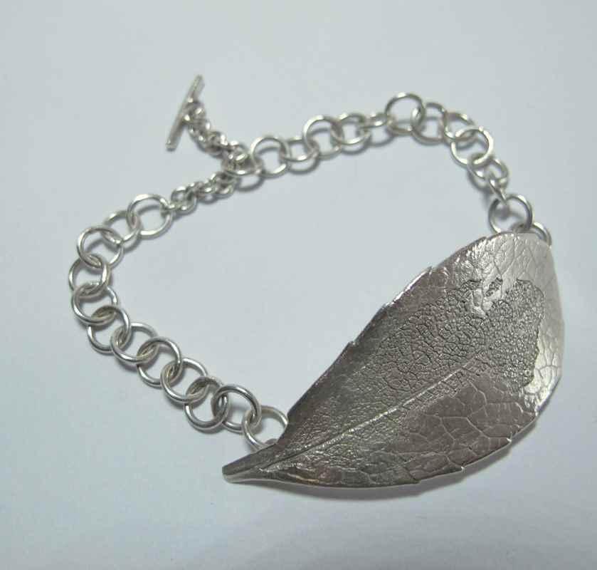 Indian Hawthorne leaf bracelets (silver & bronze) NBW012.jpg