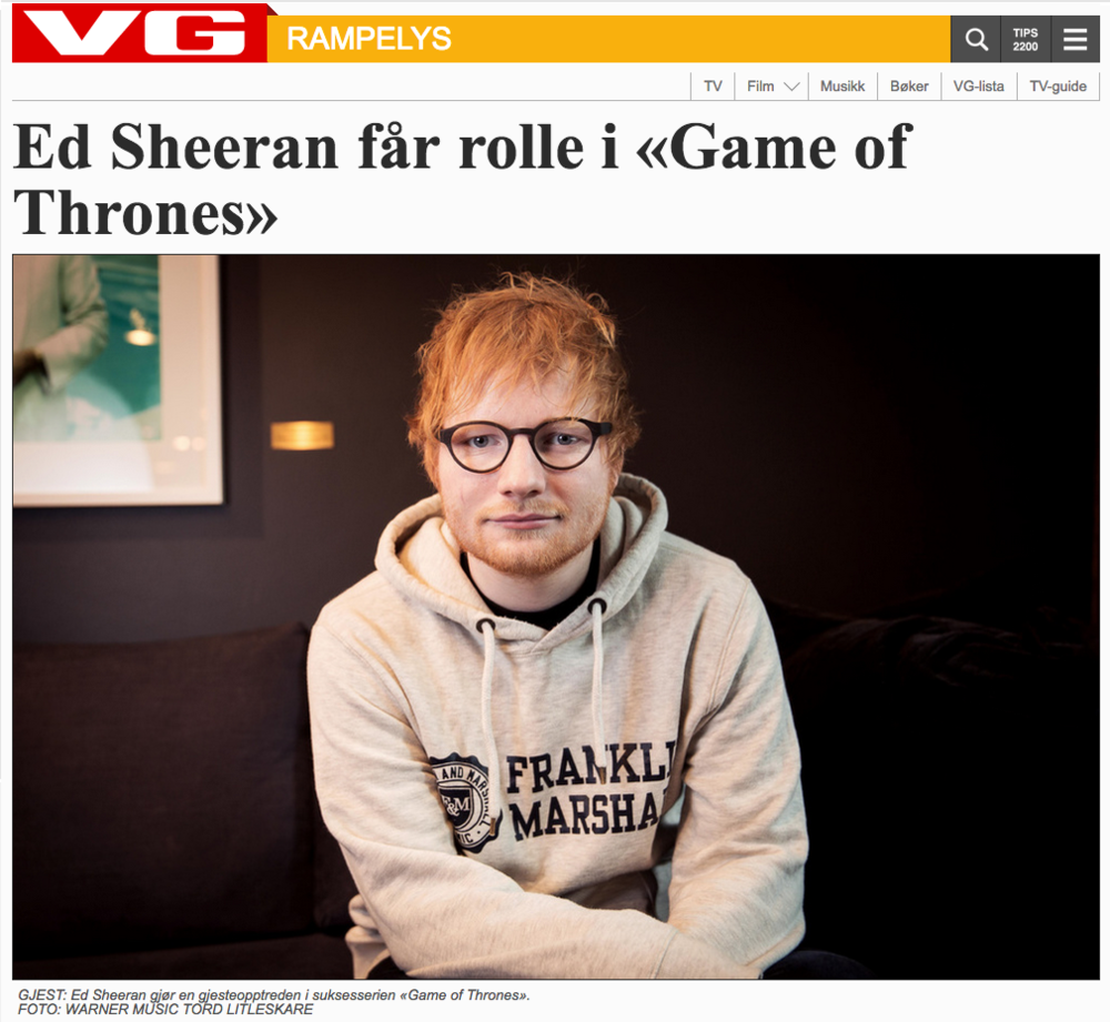 My photo of Ed Sheeran in VG.