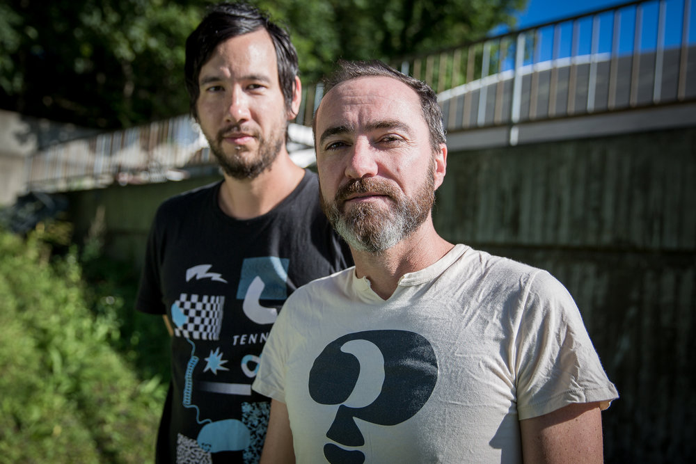 Yuuki Matthews and James Mercer of The Shins backstage at Øya