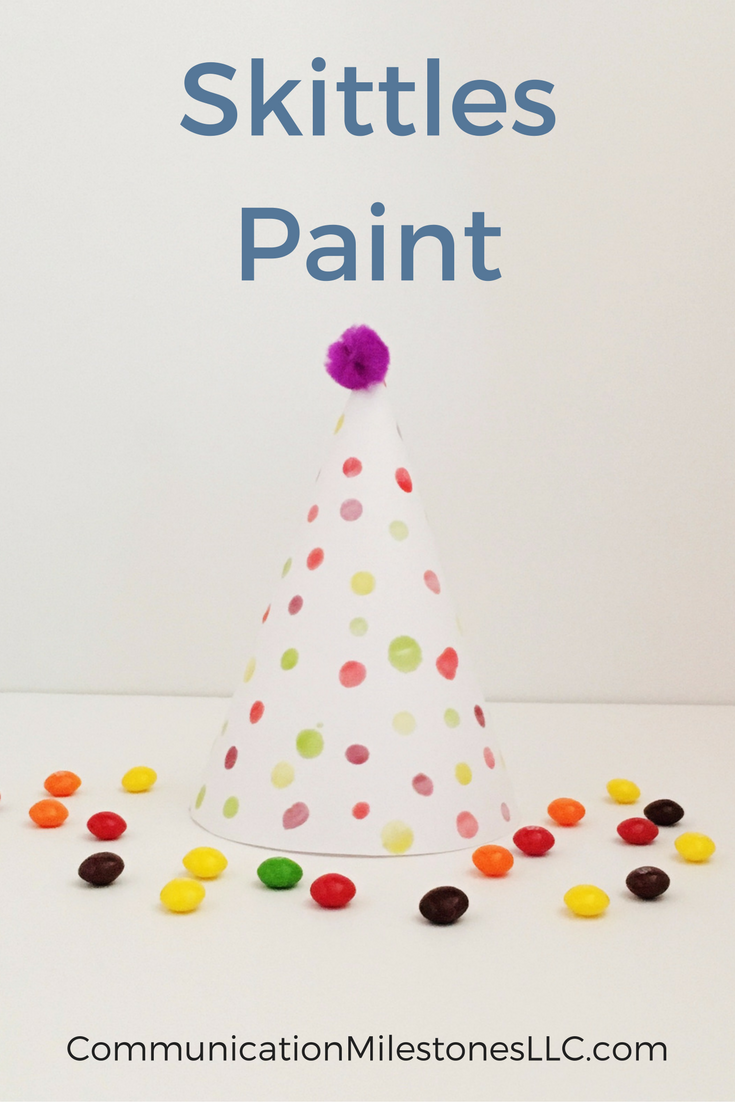 What to do with leftover candy? Make Skittles paint with your toddler. Simple activities you can do at home to improve language skills. See more at CommunicationMilestonesLLC.com