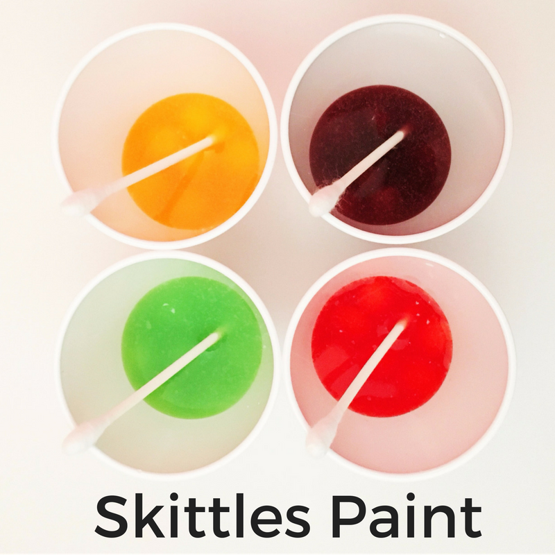 Skittles paint. Early Intervention activities you can do at home.
