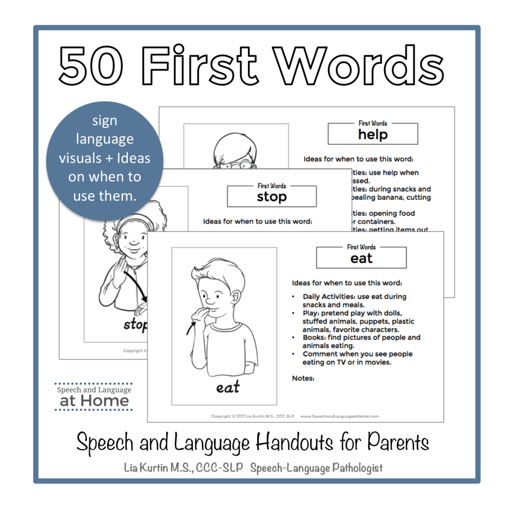 50 First Words Early Intervention Handouts