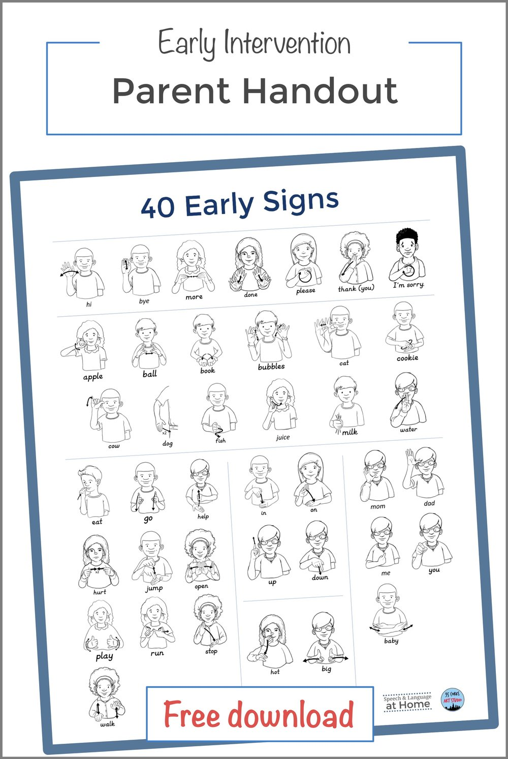 40 Early Signs Pinterest Early sign language parent handouts speech and language at home