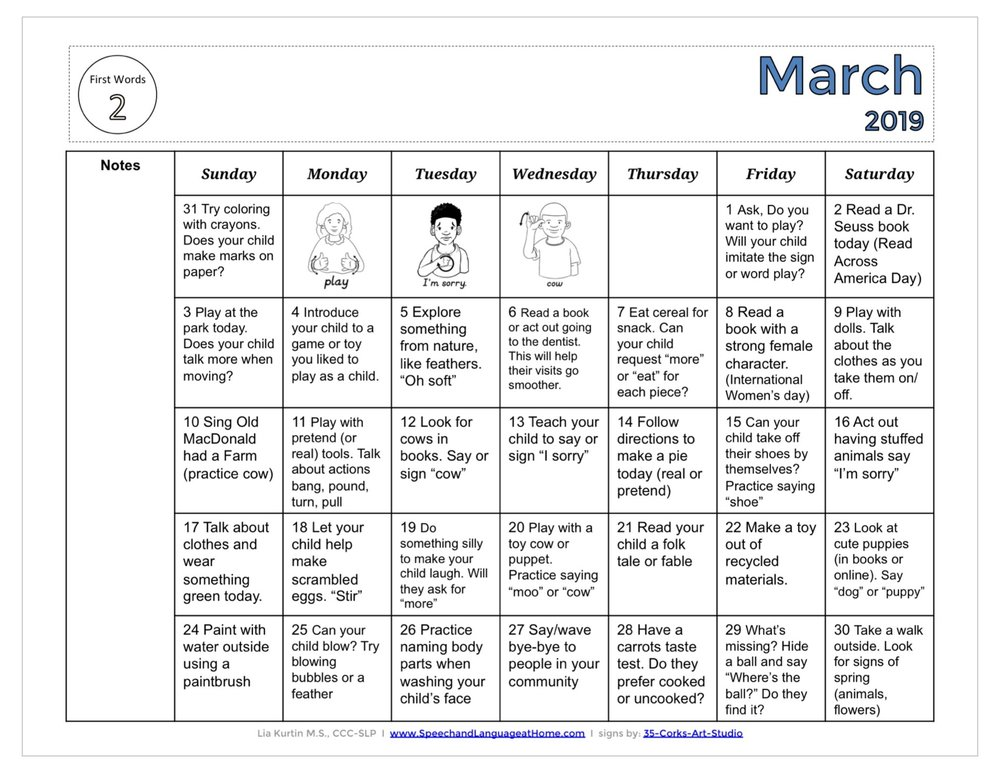 March Activity Calendars