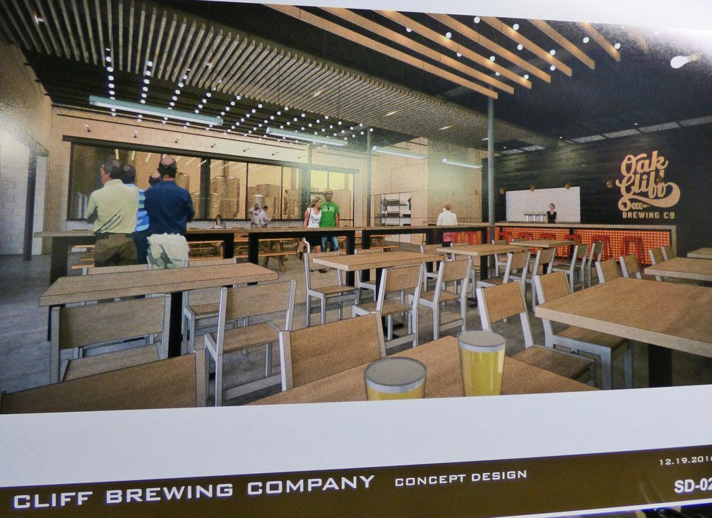 A rendering of Oak Cliff Brewing Co. and its taproom.
