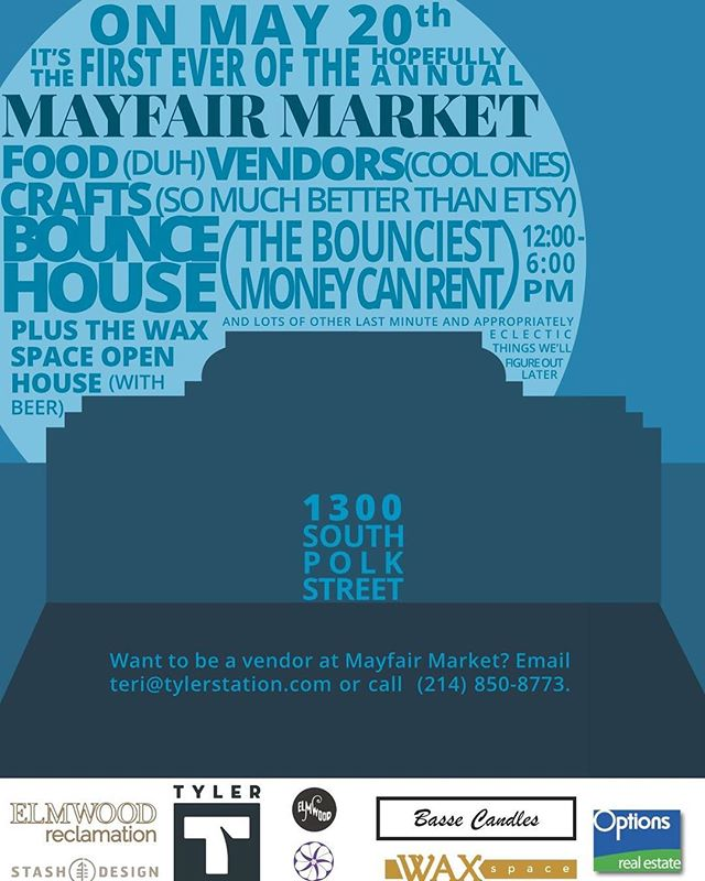 Today is the first ever MayFair Market in Elmwood at @tylerstation! It's going to be amazing yall. They have pulled together some amazing vendors, tiny treehouse co, songbird designs, paper products, Mexican rebozos and lots of vintage items. There will also be beer samples from @oakcliffbrewing and some tasty treats from Anita's Sweet treats.  It's going to be an amazing time, come out and support @tylerstation and the neighborhood. Family and dog and bike friendly. Going to be a blast! #75224