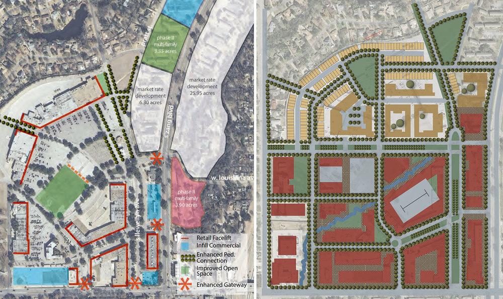 Improvement scenario versus complete reconstruction. Source: 2014 Wynnewood Urban Design Strategy