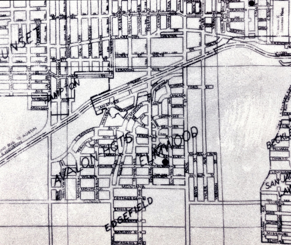 A 1936 map with Avalon Heights clearly labeled.  The Hidden City: Oak Cliff, Texas