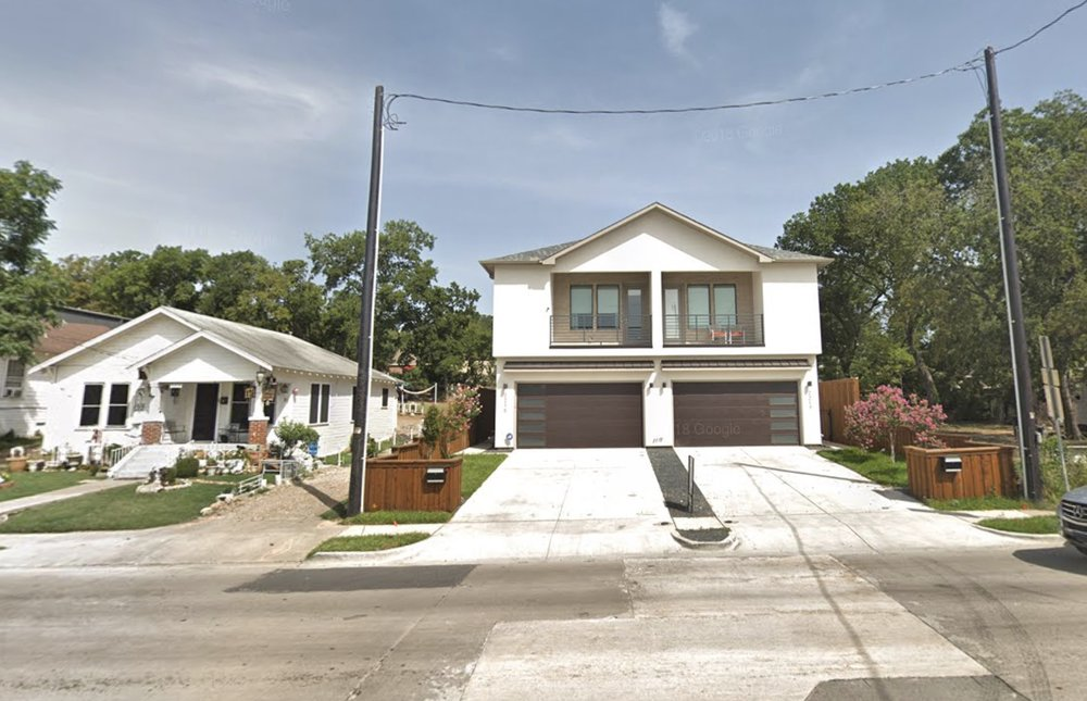 A new home on Wycliff Ave in Oak Lawn built next to an older home in similar condition to Mr. Peralta's.