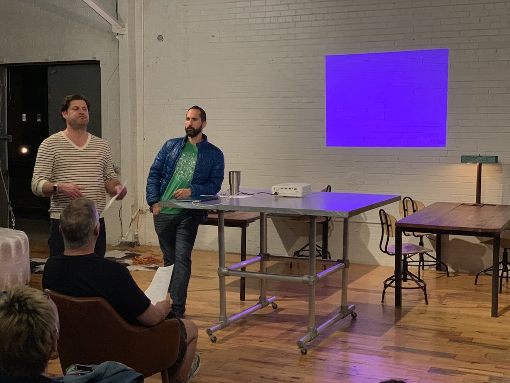 Jeff Pearce and Jorge Esteban presenting on Elmwoof Dog Park (photo by Travis Gasper).