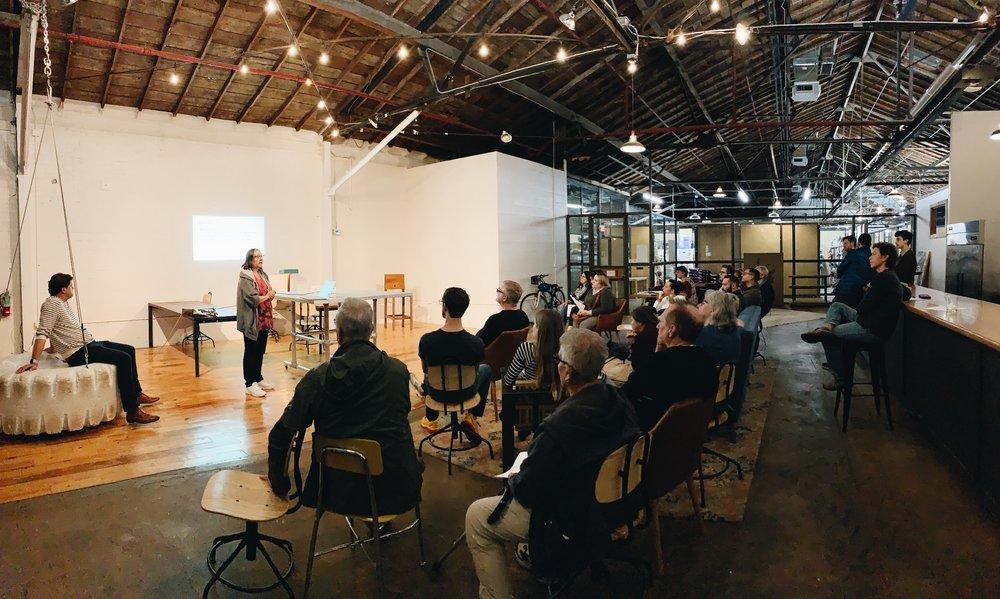 Susan Lee presenting on Elmwood Lighting Project (photo by Doug Klembara).