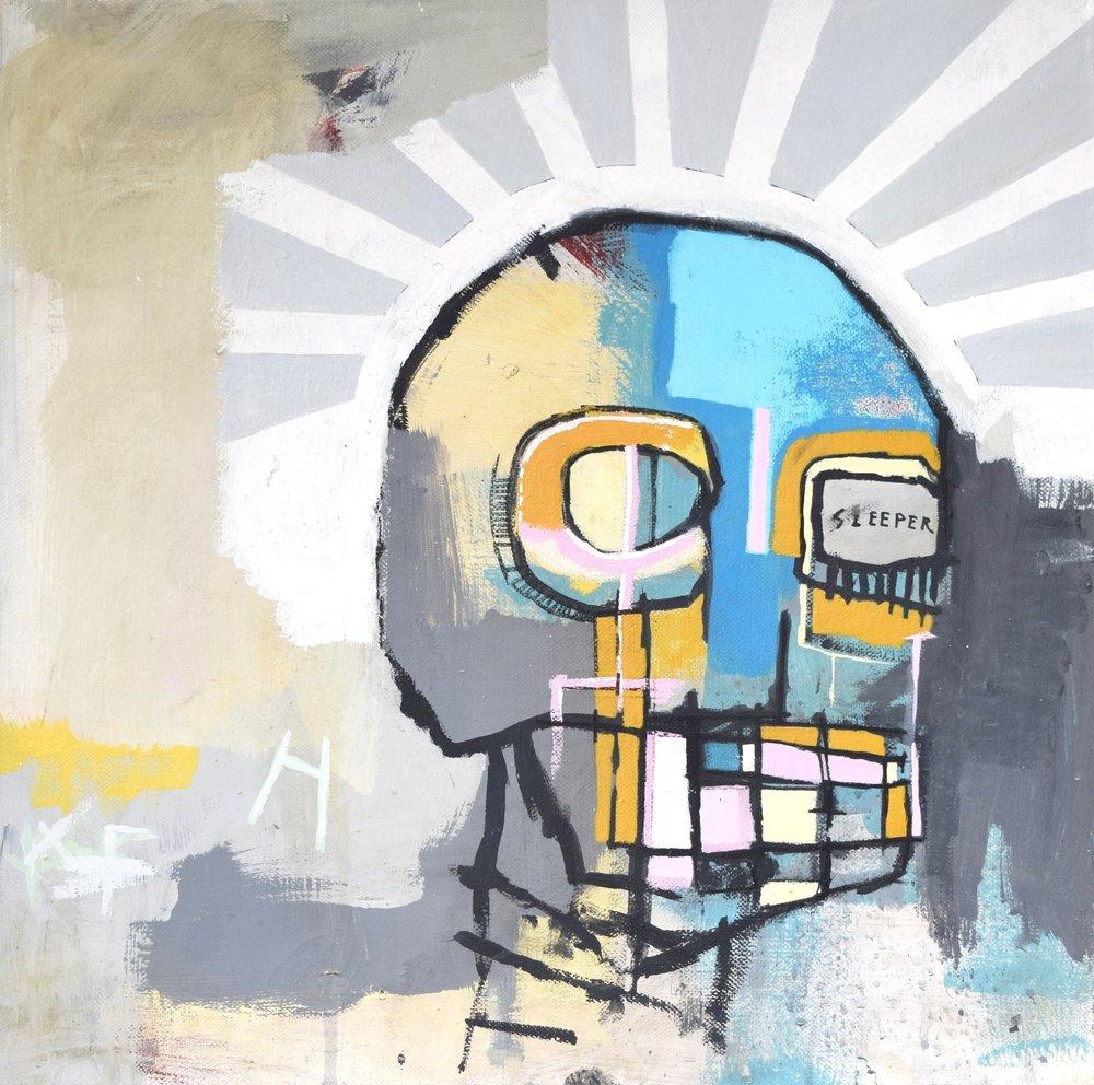 'THE SLEEPER' 2016    Acrylic paint on canvas 20 x 20 x 2 cm