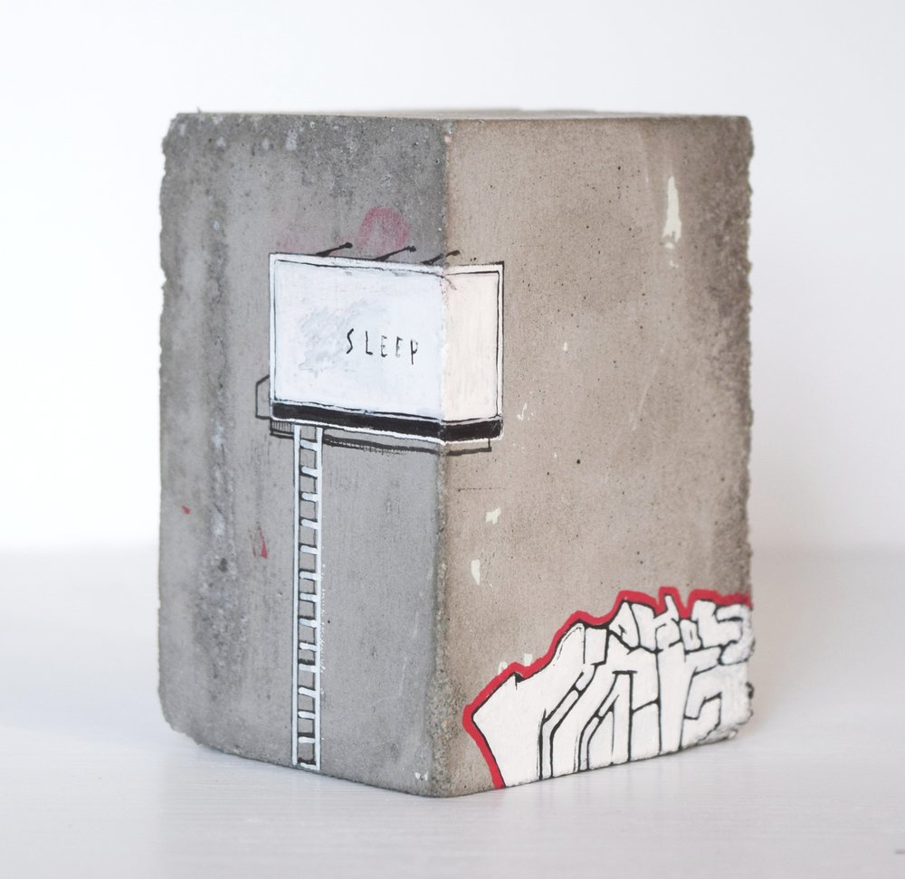 'UNITED ESTATES' 2015    Concrete with acrylic paint and permanent marker 10 x 5 x 2 cm
