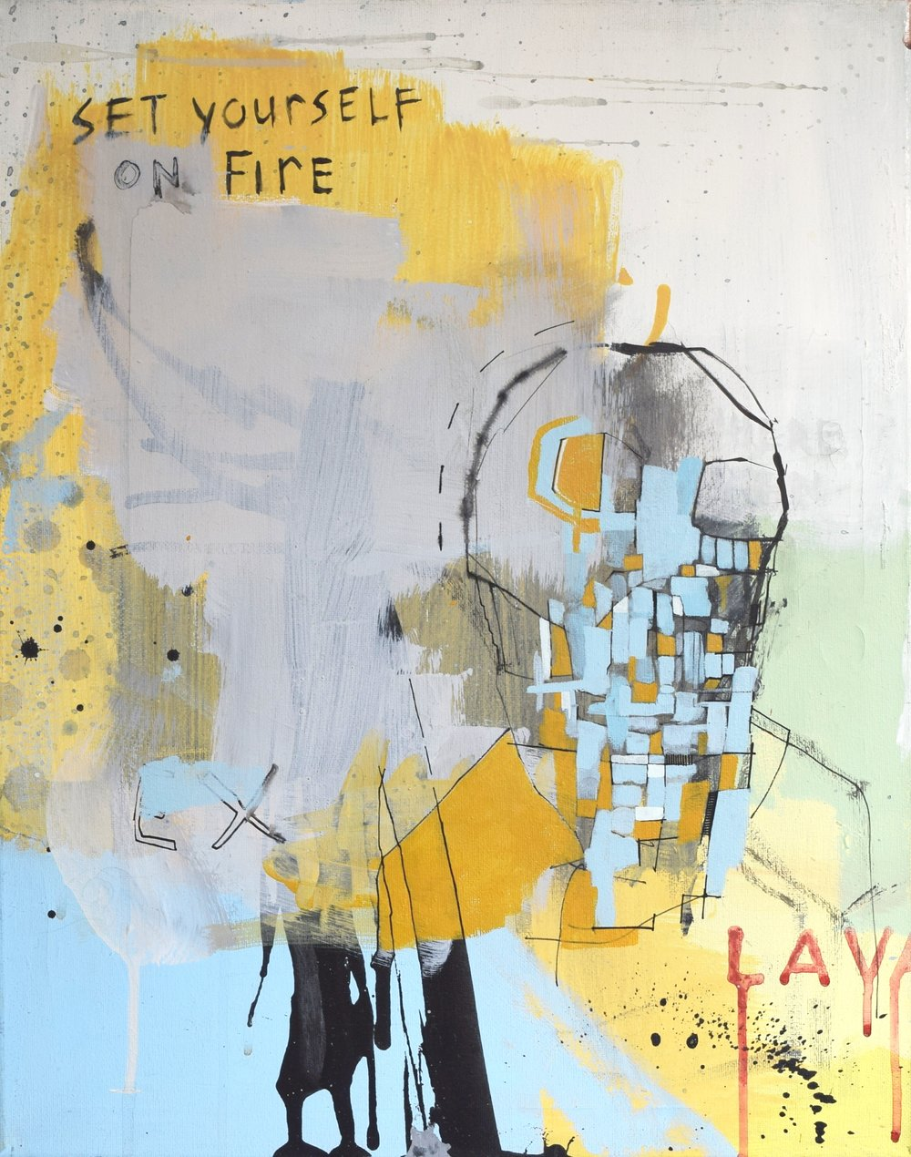 'LAVA' 2016    Acrylic paint, ink and spray paint on canvas 60 x 50 x 2 com