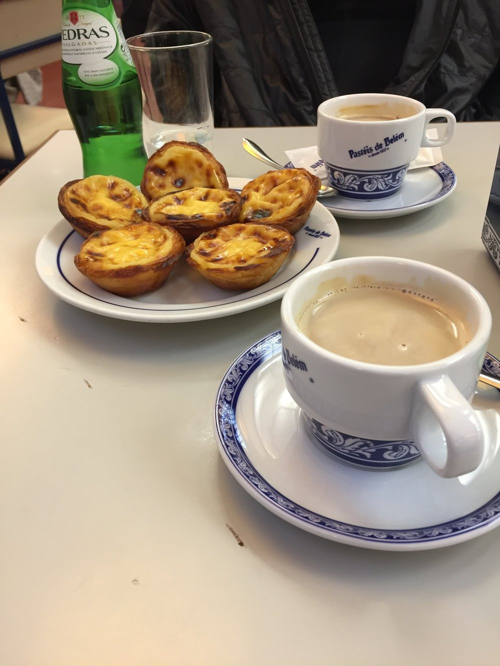 "Our first of many famous coffee and ""pasteis"""