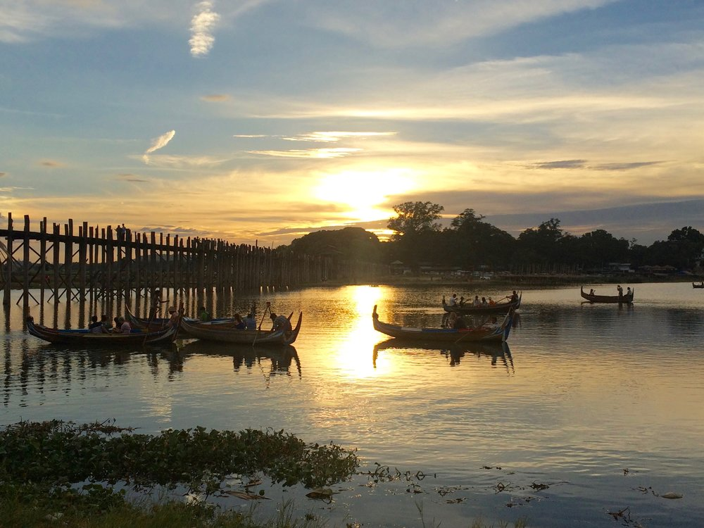 Sunset at the bamboo bridge